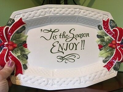 Fitz And Floyd Holly And Bow Cookie Platter Brand New In Box!!