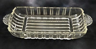 Glass Butter Dish Pressed Glass Fan Handles Relish Crudites