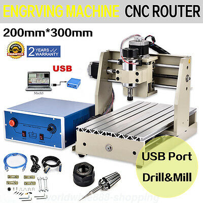 3Axis 3020T Usb Cnc Router Engraver Engraving Cutter Woodworking 3D 300W 110V