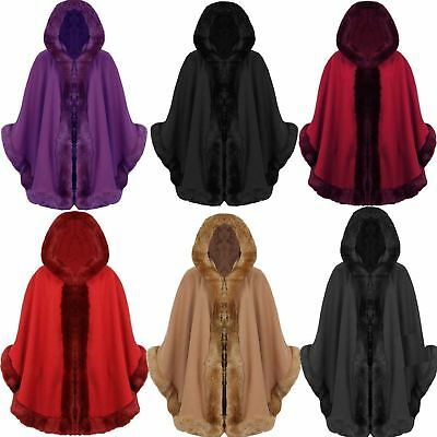 Women Ladies Italian Faux Fur Trim Hooded Wool Cape Poncho Lush Wrap Coat Jacket