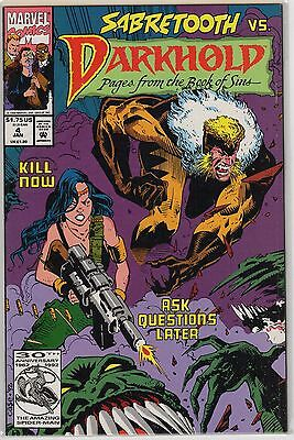 Darkhold 4 Book Of Sins Pages Sabretooth Mystic Marvel Book Back Issue 1992 Mix
