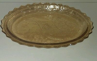 Jeanette Glass Iridescent Floragold Oval Platter Serving Plate. 1950