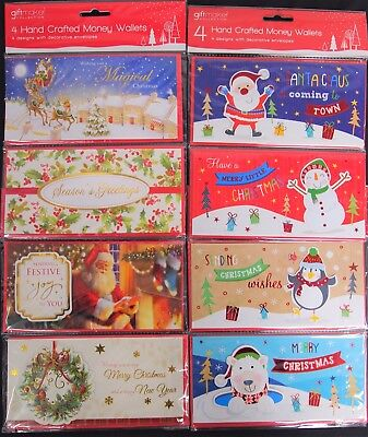 4 Hand Crafted Christmas Money Wallets - 2 Designs With Decorative Envelopes