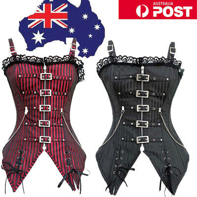 Black Red Women Steampunk Overbust Chain Corset Striped Gothic Victorian Top