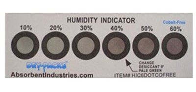 Cobalt Free Humidity Indicator Card, 6 Dot, Pack of 25