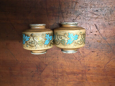 Antique Victorian Brass Bed Porcelain Taupe & Blue Floral Finials Hand Painted