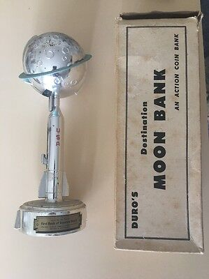1962 Destination Moon Mechanical Space Bank Duro Mold Mfg. John Glenn W Orig Box