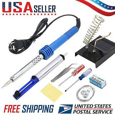 10 in 1 110V 60W Electric Soldering Tools Kit Set Iron Stand Desoldering Pump US