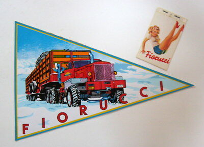 "Vintage FIORUCCI GRAPHIC Red ""ALASKA TRUCK"" PENNANT Flag AD & PRICE TAG mcm"