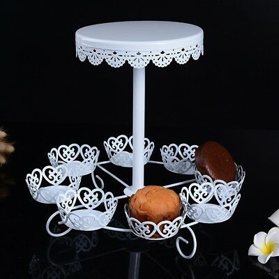 European White Style 2 Layer Iron Serving Display Cake Platter Food Stand Rack #