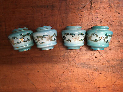 Antique Victorian Brass Bed Porcelain Blue Floral Finials Hand Painted Set (4)
