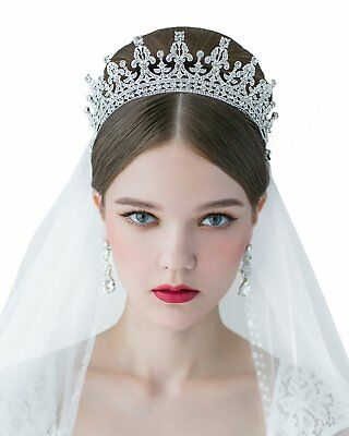 SWEETV Royal Wedding Crown CZ Crystal Pageant Tiara Bridal Headpiece Women Hair