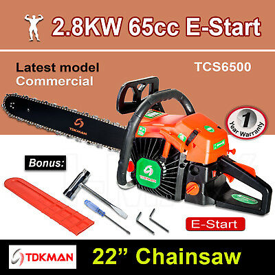 "New TDKMAN 65CC Petrol Chainsaw Chain Saw 22"" Inch Bar Tree Log Pruning Pruner"