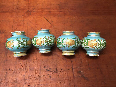Antique Victorian Brass Bed Porcelain Blue/Green Floral Finials Hand Painted