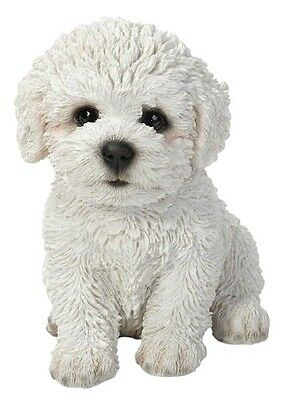 Sitting BICHON FRISE Puppy Dog Life Like Realistic Statue Home Garden Decor