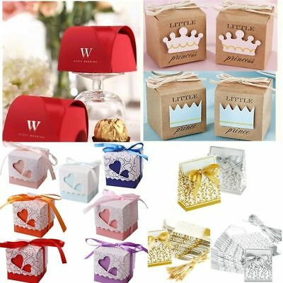 50/100Pcs Love Heart Gift Box Candy Boxes Wedding Favor Party Decor With Ribbons