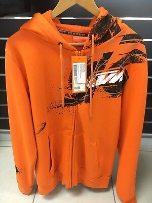 KTM Splatter Zip Front Hoodie Orange Mens Large