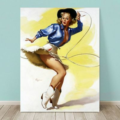 VINTAGE Pin-up Girl CANVAS PRINT 8x10 On her Toes Western Rope Drawing Photo Art
