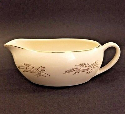 """Vintage Gravy Boat Ceramic White with Silver Wheat and Trim 8"""" x 3"""" x 3 1/2"""""""