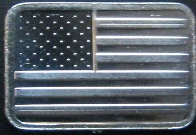 "Best Junk Drawer: 1 Gram .999 Solid Silver Bullion Art-Bar: "" AMERICAN FLAG """