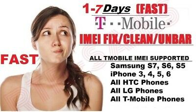 T-Mobile Imei Clean & Fix Service Iphone 4/5/6/7/8/x/xs & Samsung (Fast 1-7 Day)