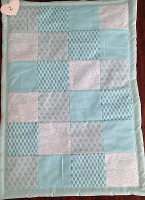 Brand New  Hand Made Blue Square Bassinet Or Pram Quilt Baby Cot No2