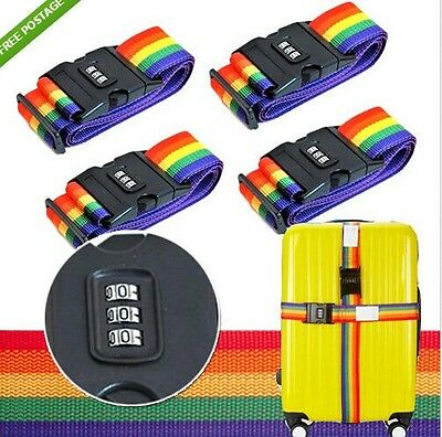 4x Password Travel Luggage Suitcase Secure Lock Safe Nylon Packing Belt Strap