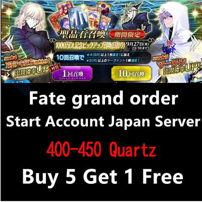 (Buy 5 get 1)Fate Grand Order Fate GO F/GO 400-450 Quartz Starter Account