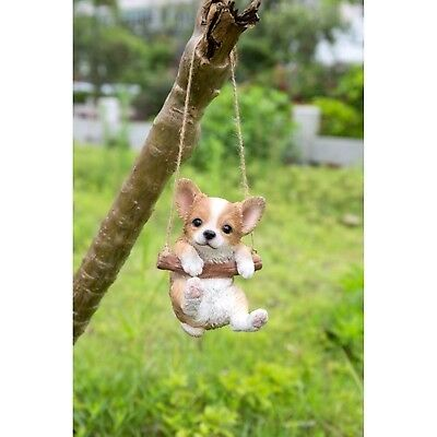 Chihuahua Puppy Dog Hanging New Life Like Realistic Figurine Home Garden Decor