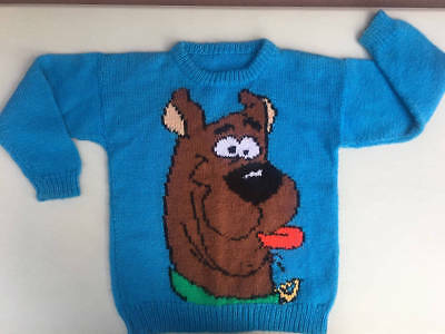 Hand Knit Child's Blue Sweater Scooby Doo
