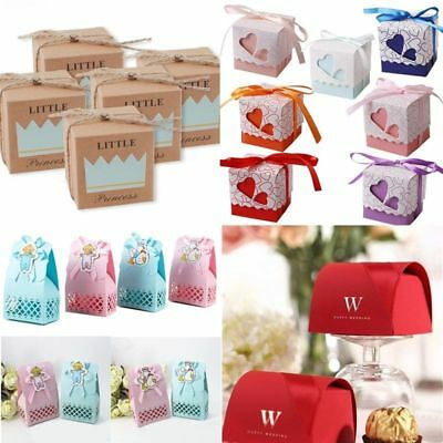50/100 Pcs Wedding Paper Candy Gift Box With Ribbon Bridal Shower Gift Package