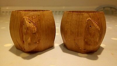 Lovely Pair of Robert MOUSEMAN Thompson Napkin Rings / Candle Holders