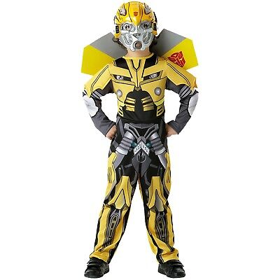 Boys Bumble Bee Transformers Robot Warrior Child Party Outfit & Mask Costume