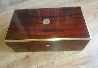 Antique Writing box brass regency secret drawers mahogany