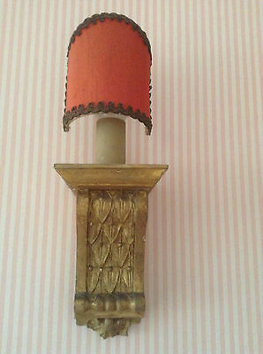Pair Of Antique Carved Wood/plaster Gilded Wall Lights With Original Shades
