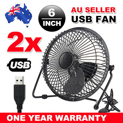 2X NEW Jumbo 6inch USB Desk Fan Cooler Cooling Metal Construction HOME OFFICE AU