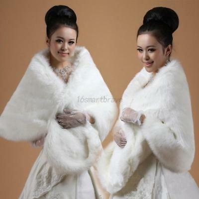 White Faux Fur Wrap Stole Shawl Cape Bridal Wedding Shrug Stole Warm Jacket US