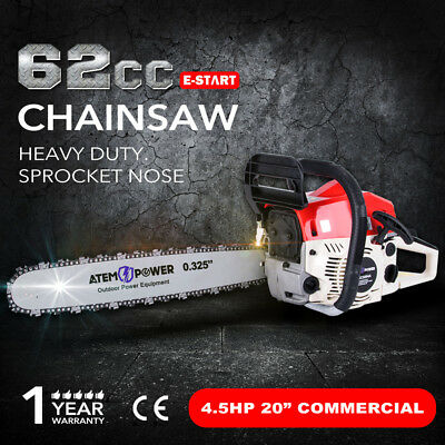 62cc Petrol Commercial Chainsaw 20inch Bar 4.5HP Pruning Chain Saw ATEM POWER