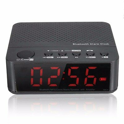 LCD Alarm Clock Mini Digital Bluetooth Portable Speaker FM Radio AUX TF BASS US