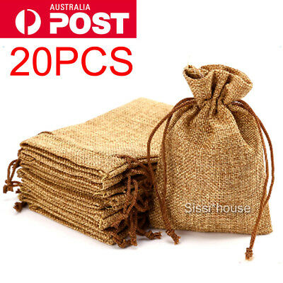 20PCS Natural Burlap Bags Jute Hessian Drawstring Sack Small Wedding Favor Gift