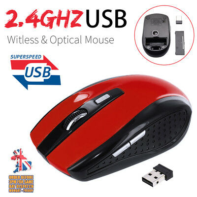 2.4GHZ Wireless Mouse Cordless Optical Scroll Mouse PC Laptop USB Dongle RED UK
