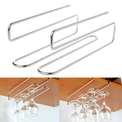 Stainless Steel Wine Glass Hanging Rack Cup Holder Under Cupboard Hanger Bar