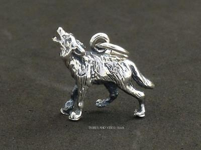 HOWLING WOLF Charm 925 Sterling Silver 15mm animal totem Jewellery inc jump ring
