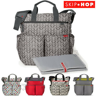New SKIP HOP Duo Signature Nappy Diaper Bag & Padded Baby Changing Mat SkipHop