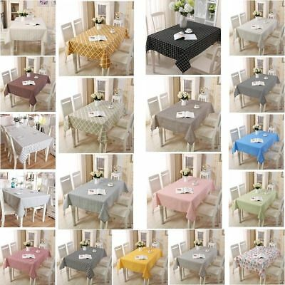Countryside Plaid Cotton Linen Fabric Tablecloth Dinning Coffee Table Cover New