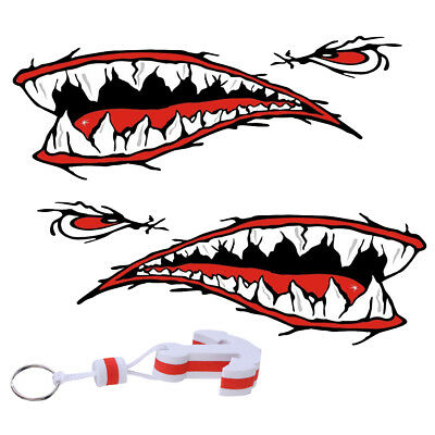 2x Kayak Shark Mouth Tooth Fighter Aufkleber Sticker Anchor Floating Key Ring
