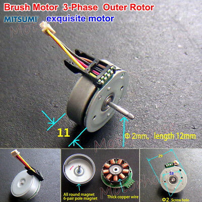 Mitsumi 3-Phase Mini Brushless Motor External Outer Rotor DIY fan RC Drone Model