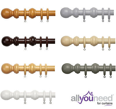 28mm Wooden Complete Curtain Pole Sets with Solid Ball Finials - 7 Colours