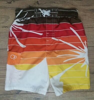 Boys 3T OP Brown White Red Orage Yellow Striped Abstract Lined Swim Trunks