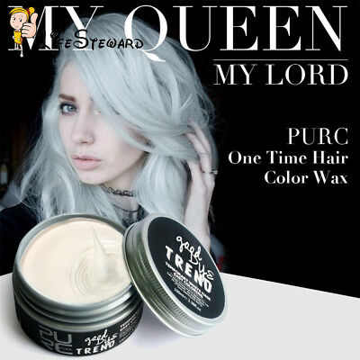 PURC Unisex DIY Modeling Hair Wax Hairstyle One-time Hair Color Mud Cream White
